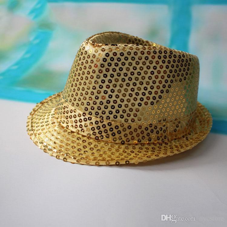 9 renk kız erkek bling şapkalar sıcak bebek çocuk pamuk Caz Serin Kap Fotoğraf Üst yaz güneş payet Şapka Fötr Disket Şapka için 2-8 T