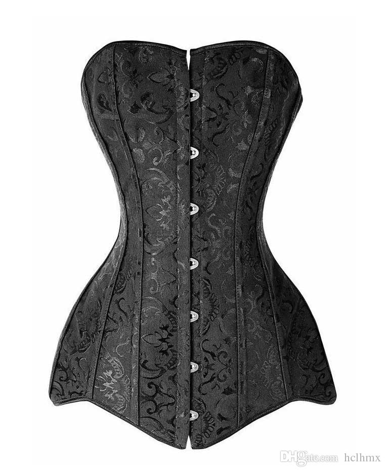 Сексуальная Элегантный Плюс Размер Black Jacquard сталь Boned Overbust высокого качества Long Line Корсет Бюстье Top