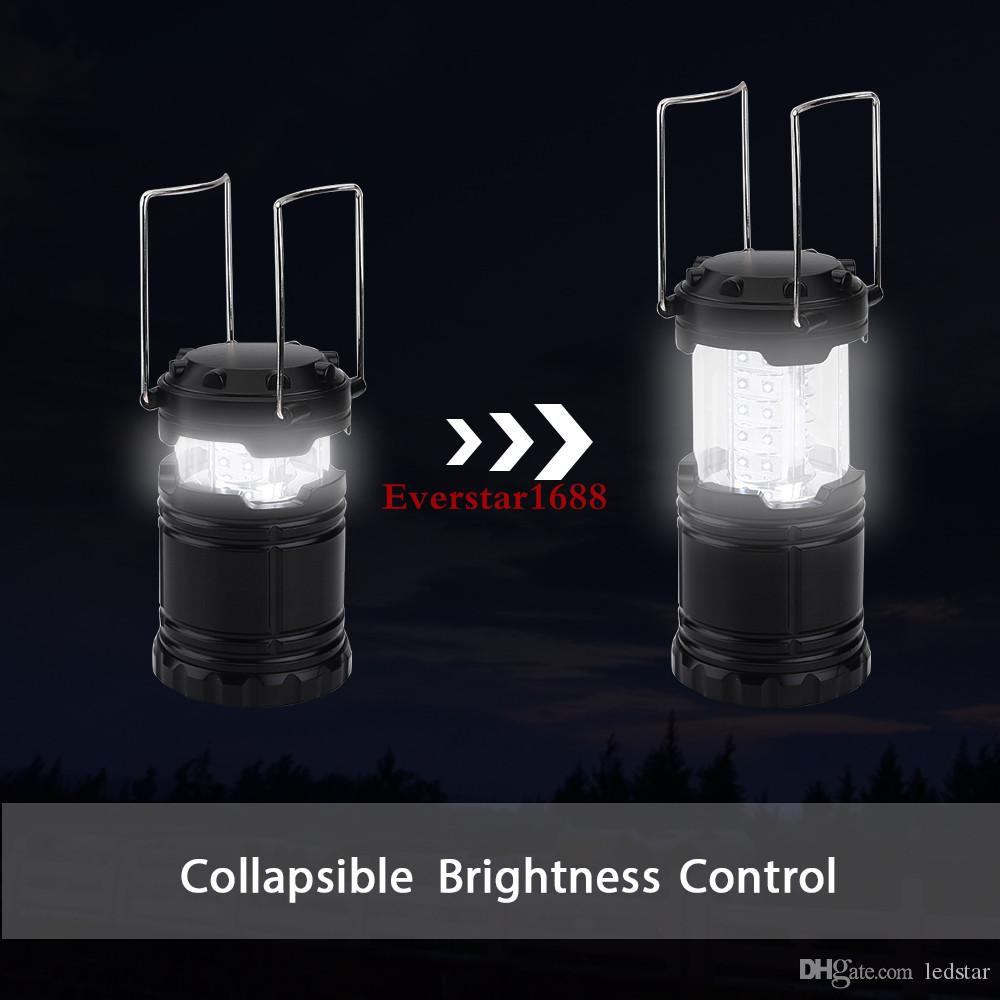 LED camping lamp outdoor collapsible lantern emergency Flashlights Portable Black Collapsible For Hiking Camping Halloween Christmas