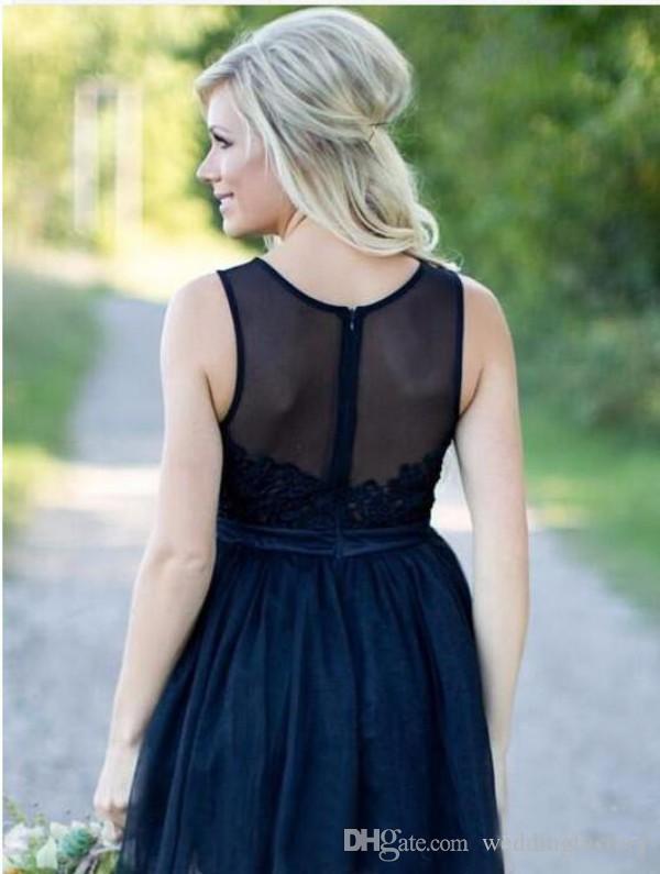 Modest Country dama de honra vestidos escuro marinho acima do joelho comprimento vestido de renda frisado pura colher pescoço sem mangas sheer back zipper até tule