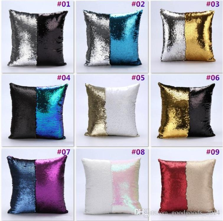 Diy Glitter Sequins Throw Pillow Case 14 Designs Color Changing Scale Hugging Home Cushion Decorative Mermaid Pillow Cover B507 Large Pillow Covers Standard ...