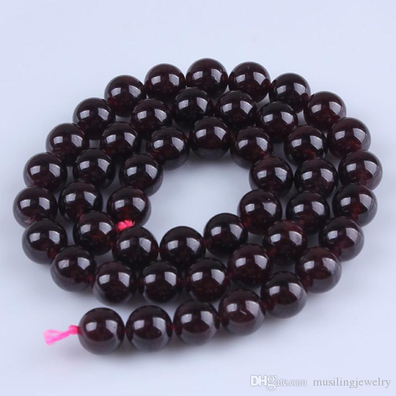 DIY For Jewelry Making A Strand 8mm Natural Round Garnet Loose Beads Women Reiki Healing Chakra Amulet Jewelry Accessories