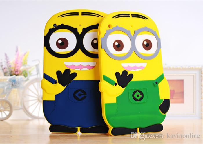 3D Silicone Cute Minions Despicable Me2 Case Soft Cartoon Back Cover for Ipad mini 2 3 4 5 air 20Pcs/Lot