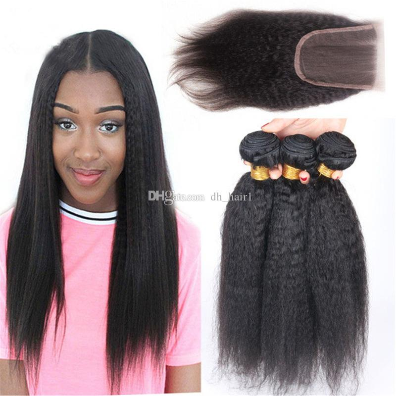8a Coarse Yaki Hair Weave With Closure Free Middle Or Three Part