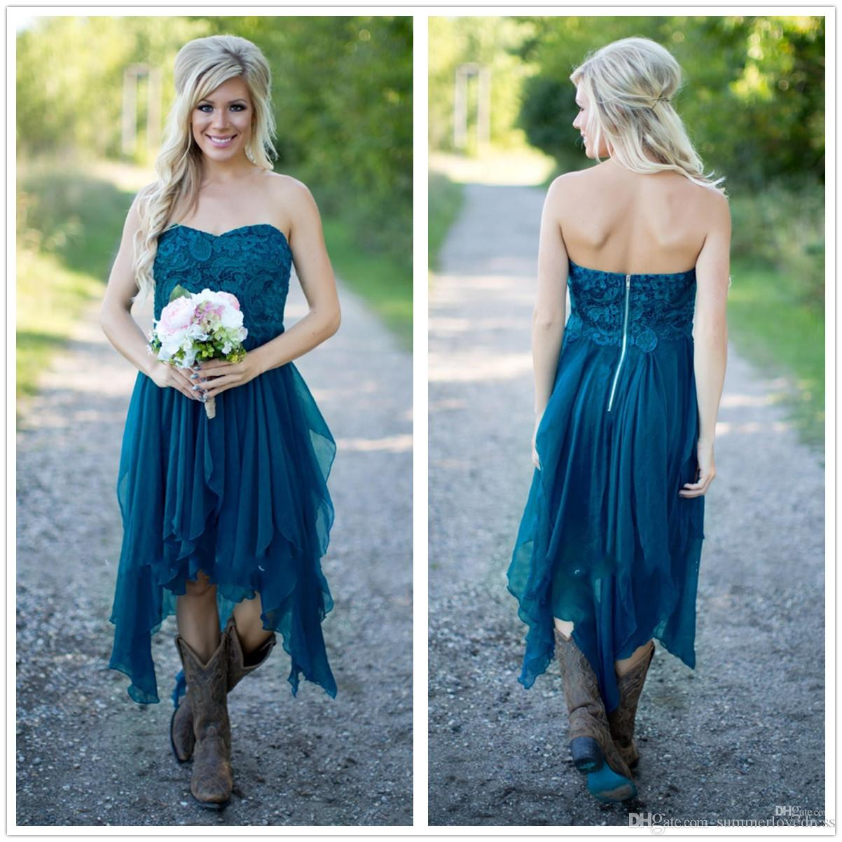 2017 New Sweetheart Lace Top Chiffon Country Bridesmaid Dresses Ruffle Knee Length Wedding Party Prom Dresses