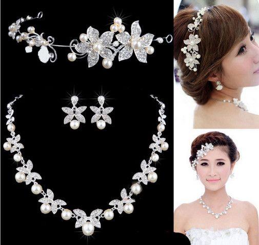 Blume Crystal Pearl Braut Set Halskette Ohrringe Tiara Braut Hochzeit Schmuck-Set Zubehör für Frauen NE181 weiß rot