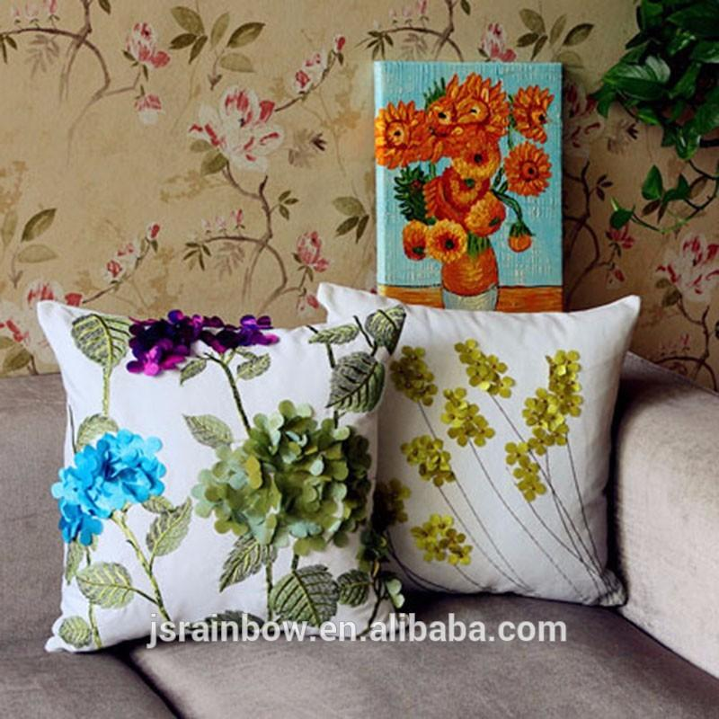 See larger image & Rural Style Latest Design Linen Flowers 3d Cushion Cover Hand ... pillowsntoast.com