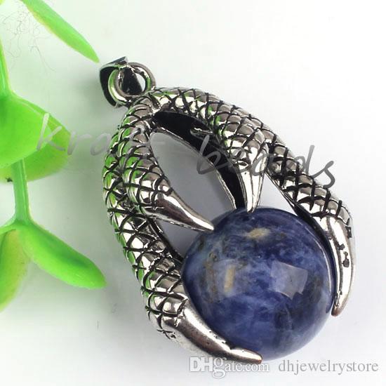 Venta al por mayor 10 unids plateado diseño especial garra de dragón con varios Druzy cuarzo cuentas de piedra colgante encanto joyería