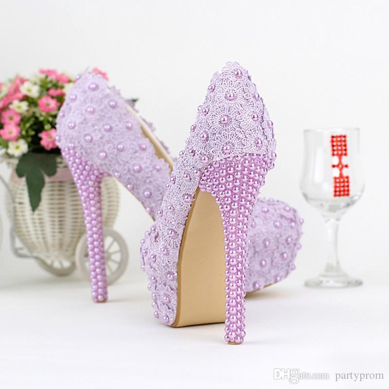 Lila Farbe Hochzeit Schuhe Dame Schöne Elegante Brautkleid Schuhe Runde Kappe Frühling Graduation Partty Pumps Zeremonie Schuhe