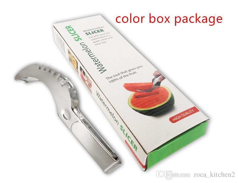 Neue Edelstahl-Wassermelone Slicer Cutter Küchengeräte Gadgets Melon Cuttermesser Obst Segmentierungs Watermelon Ausstecher mit Farbenpaket