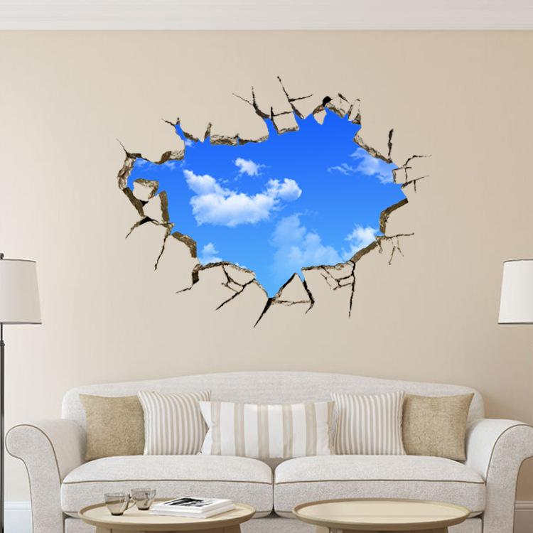 Hole Landscape Blue Sky White Cloud 3d Wall Sticker ,Creative Home Decal  For House Living Room Roof Decals Stickers Custom Vinyl Wall Decals Custom  Wall ... Part 16