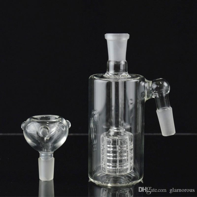 Glass Ash Catcher Glass Water Pipe Bongs Oil Rigs Matrix Perc Glass Ash Catcher for Hookah Free Glass Bowl and Funneled Glass Bowl