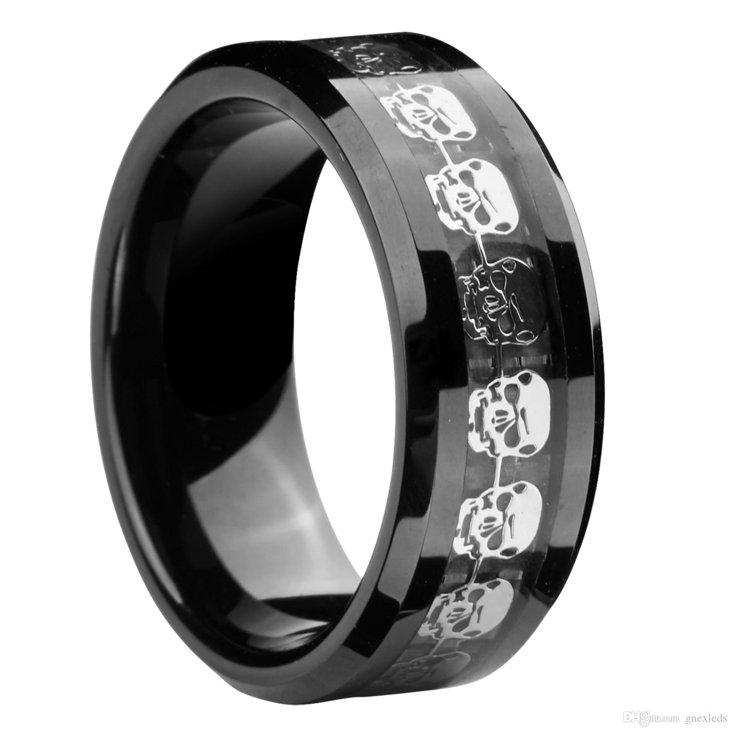 inlay carbon diamond wedding cobalt black ring band rings fiber chrome
