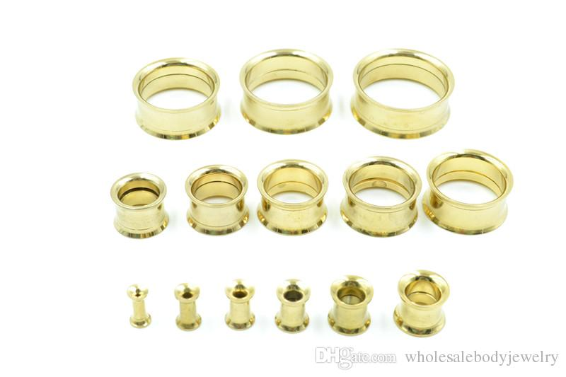 Surgical Steel Double Flare Gold Plated Ear Plugs Ear Tunnels Expanders Stretcher Earlets Full Gauges Sets 3mm up to 25mm