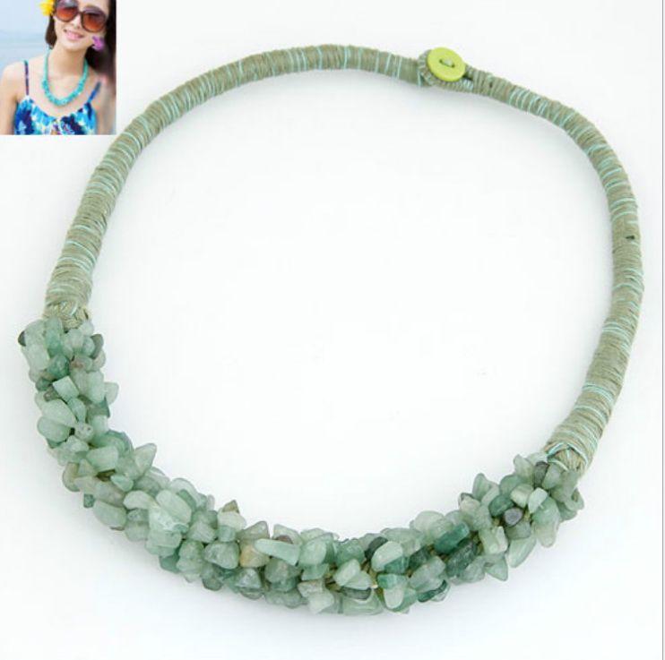 2019 Hot Semi Precious Stones Beaded Handmade Rope Necklace Turqoise