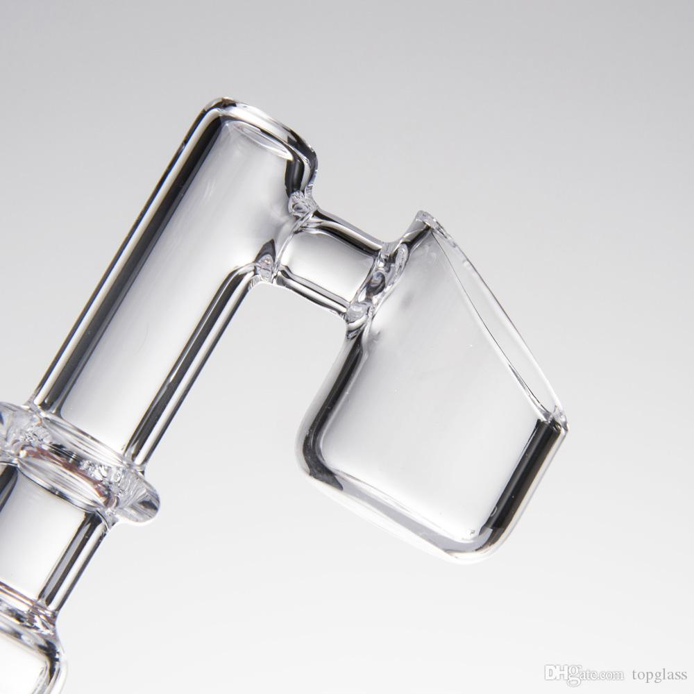 90 Degree Straight Connector Quartz Banger Style Domeless Nail with Clear Male and Female joint for glass bongs dab oil rigs