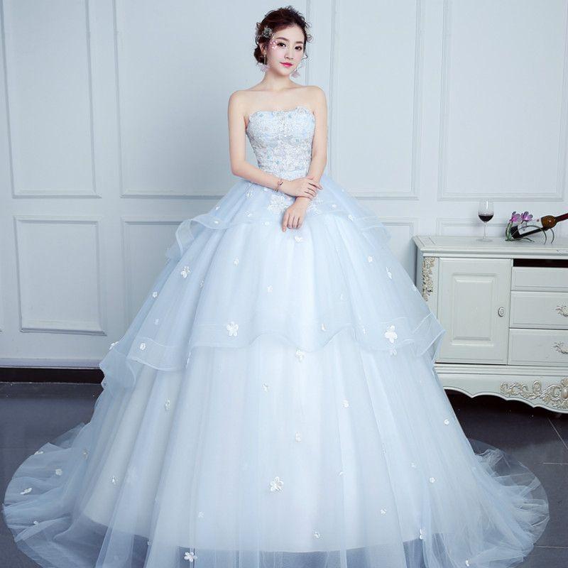 Wedding Dress Elegant Light Blue Strapless Sleeveless Sweep Train ...