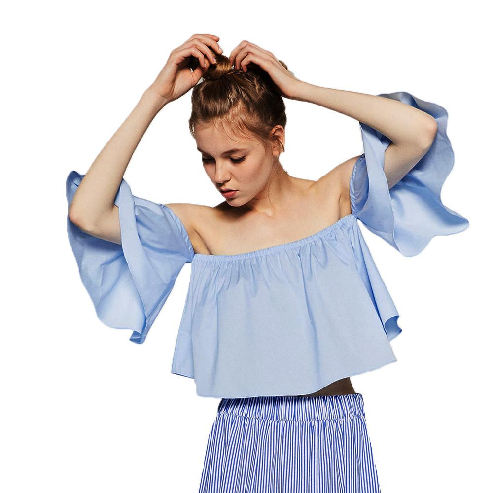 69dccf24b3af 2019 Wholesale 2016 NEW Summer Fashion Trend Women S Top Off Shoulder Cute  Brief Ruffles Girl S Cropped Top Sexy Short Tees From Jinzhong