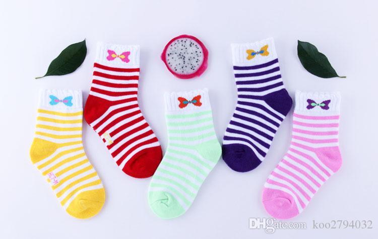 5 пара / лота милый мультфильм геометрический узор детские детские носки мягкие хлопковые детские девушки мальчики носки подходят для 1-10 лет