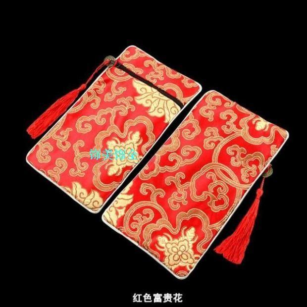 2016 Nouveau rectangle Tassel Bijoux Sacs Zip Collier Voyage peigne en bois Sac Cadeau Femme chinoise brocart de soie cosmétique de maquillage Emballage Pouch