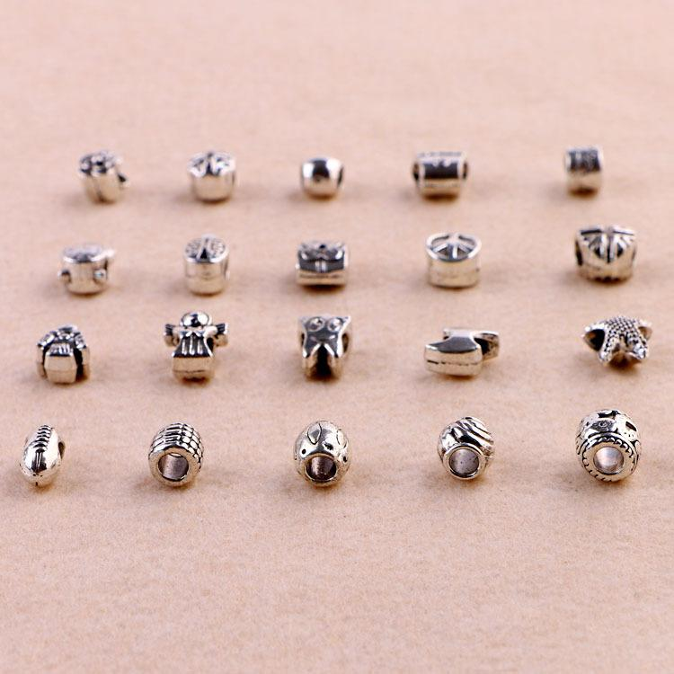Big Hole Perles en vrac Argent Plaqué Charmes de Bijoux DIY Bracelets de perles pour Bracelet Européen Collier 20styles