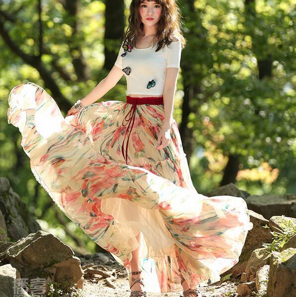 2019 2016 New Fashion Long Maxi Summer Women Bohemia Flower Print Chiffon  Boshow XS XL Elastic Waist Summer Lady Skirt Hot Sales From Jamp 0b43bcbcc577