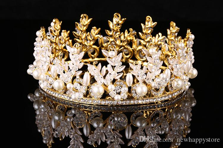 Luxury Wedding Pearl Tiara Crowns Princess Queen Pageant Silver Gold Headband Crystal Bridal Hair Jewelry Accessories