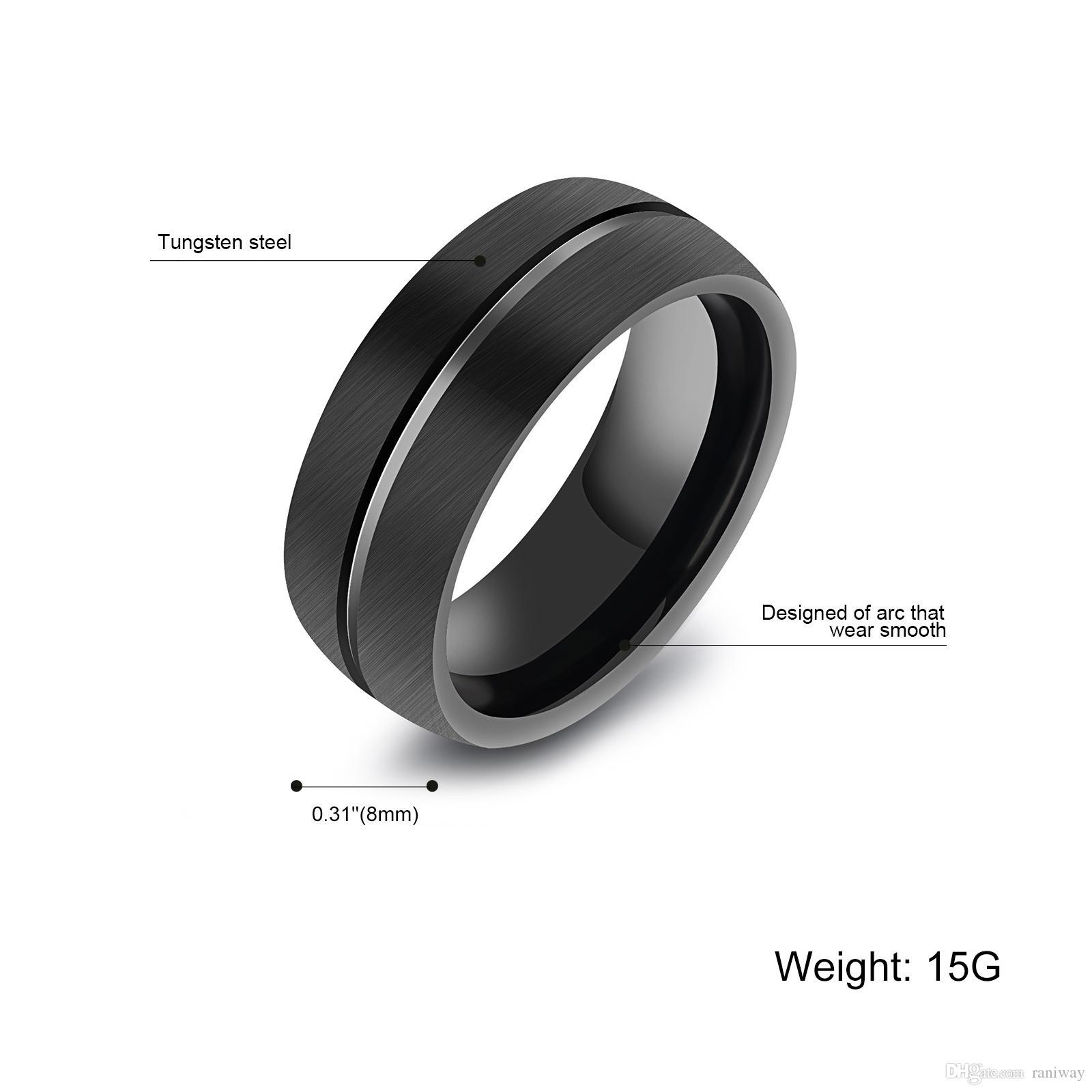 Fashion Black Uomo 8mm Classic Top Piatto-Top Spazzolato Centro Acciaio Tungsteno Anello in acciaio Grooved Banda di fidanzamento uomo Dimensione 8-11