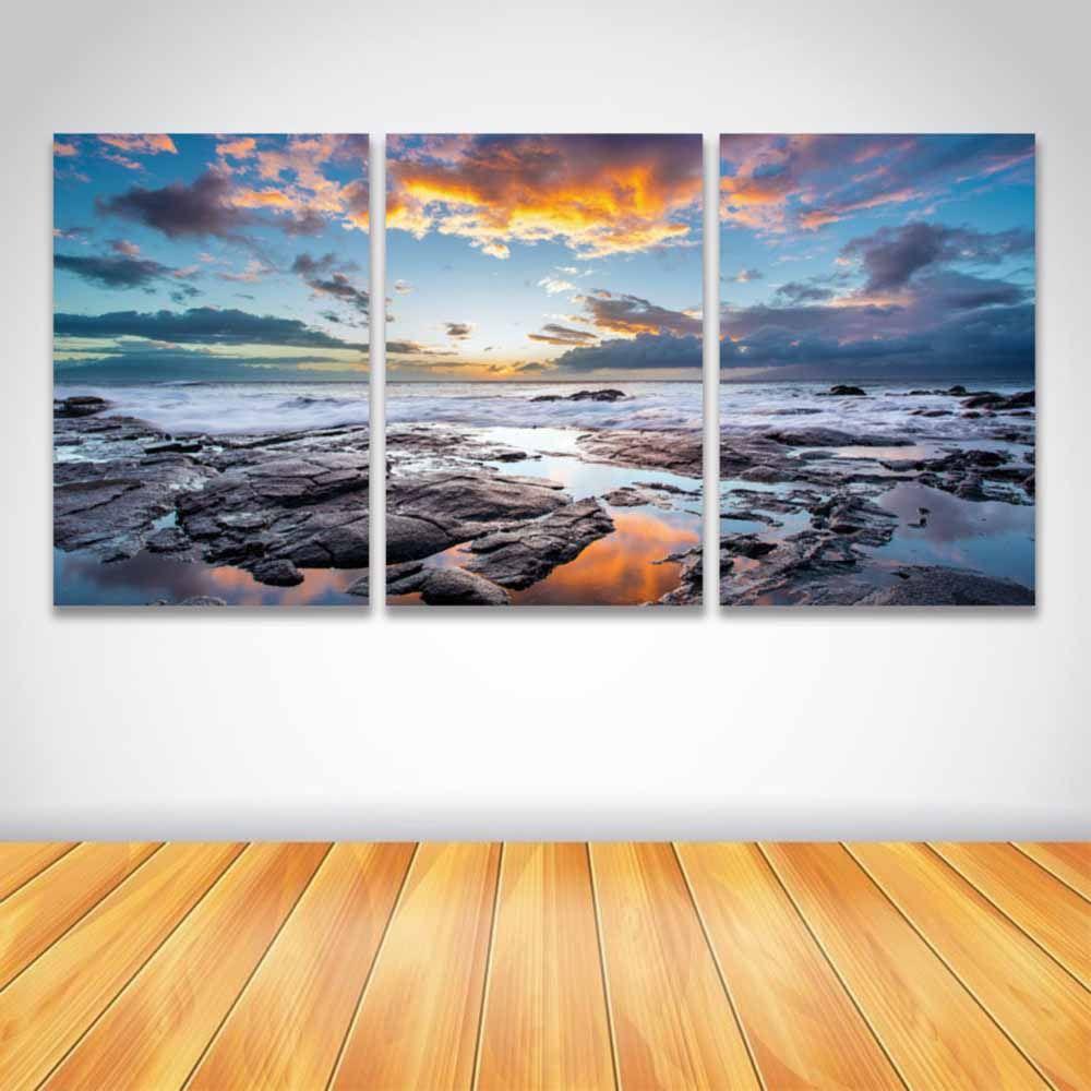 3 Panel Wall Art Custom 2018 3 Panel Hd Prints Canvas Wall Art Sea Water Rock Sky Sunset Inspiration Design