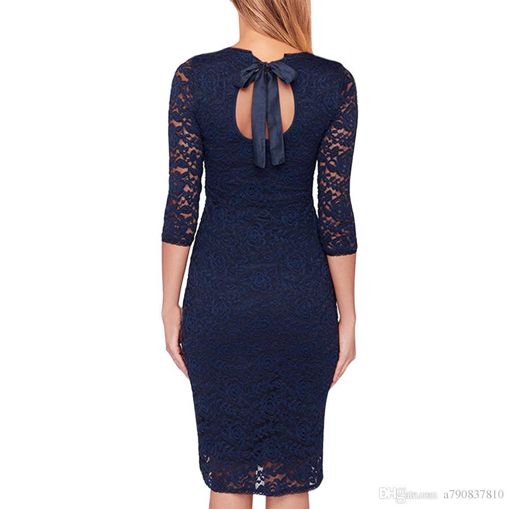 Femmes élégantes robes haut de gamme travail bureau Party Bodycon gaine robe Europe États-Unis populaire avec le crayon rond au cou jusqu'au genou Dres