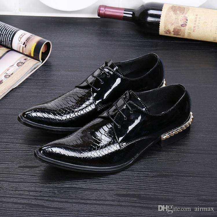 Designer Luxury Men Black Dress Shoes Fashion Pointed Toe Python Snake Pattern Leisure Leather Shoes Lace Up Rivets Charm 38-46