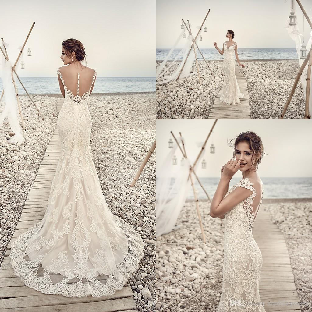 2018 Wedding Dresses Eddy K Aires Mermaid Appliques Lace Gorgeous Sheer Neck And Back Cap Sleeve Vintage Gowns Custom Made Dress Store
