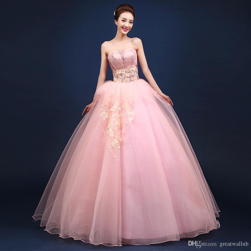 Freeship Light Pink Sequined Flowers Princess Theme Party Ball Gown ...