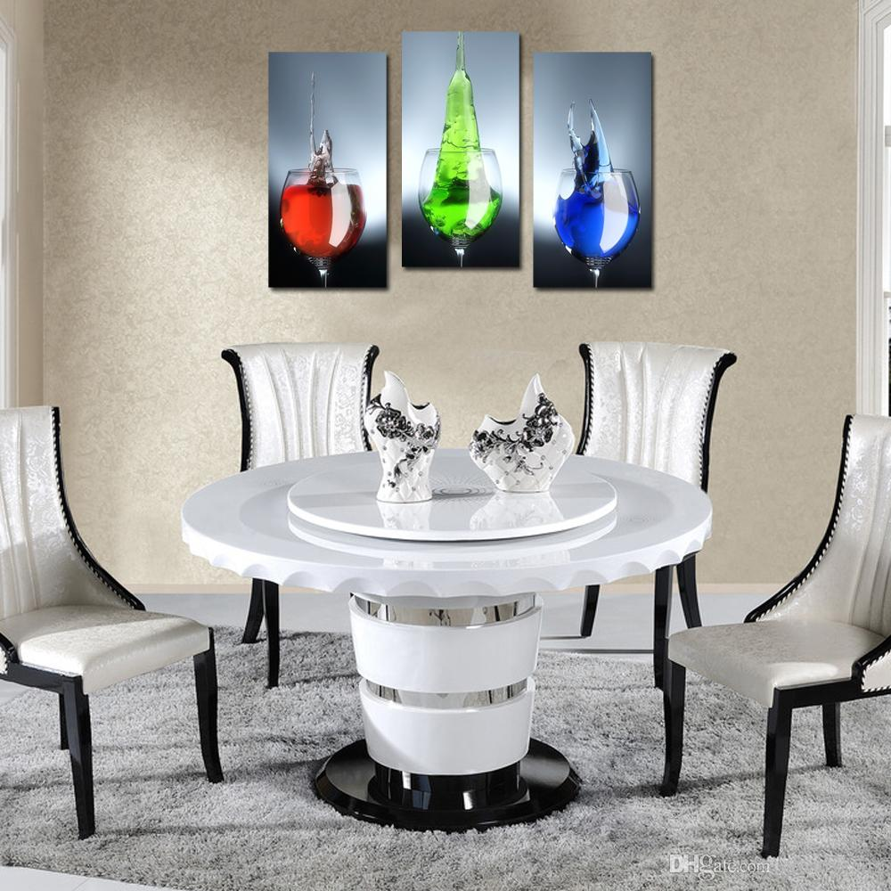 3 Panel Wine Glass With Colorful Beverage Wall Art Print Canvas Dropship Print Home Decor For Living Room and Bedroom Decor Home Decoration