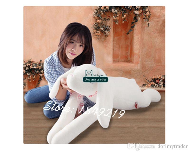DorimyTrader Coreia quente 120cm gigante pelúcia macio animal orelhas mais longas brinquedo de coelho cartoon dormindo coelho boneca crianças presente para menina brinquedo
