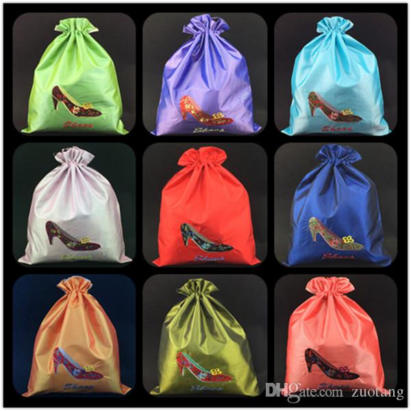 Многоразовые большие женские ботинки обувь хранения сумка путешествия атласная ткань защитная крышка подарочные упаковки сумки оптом