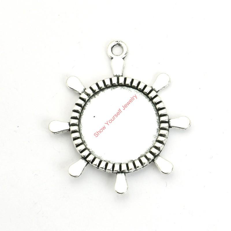 2018 Antique Silver Plated Rudder Photo Frame Charms Pendants For ...