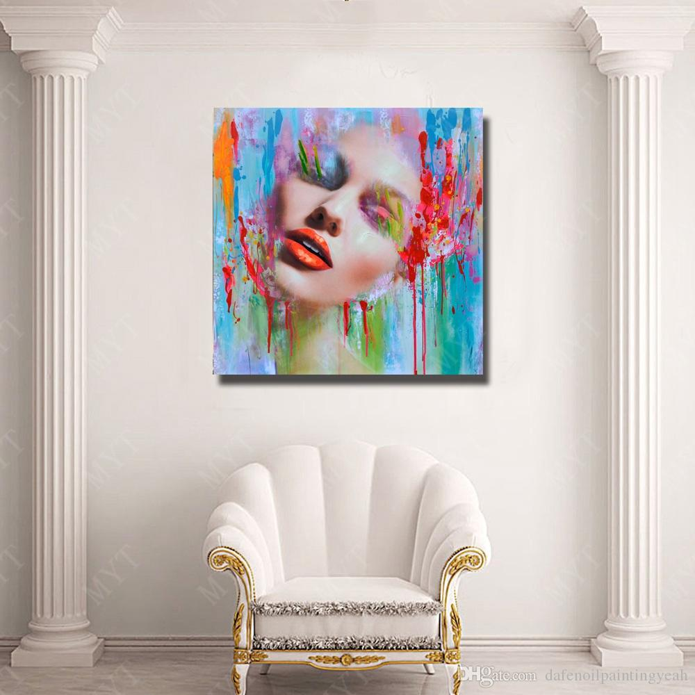 New Design Women Face Oil Painting Home Decor Wall Pictures Hand Painted Modern Pictures on Canvas Portrait Art No Framed