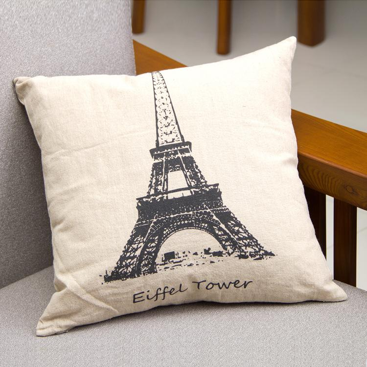 Eiffel Tower Pattern Pillowcase Scenery Pairs Tower Pillow Cover Home Sofa Decorative Pillow Cases