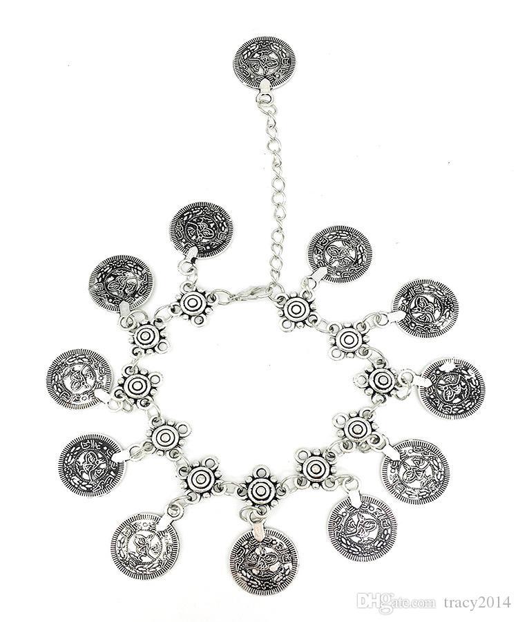 2016 Coin Chaînes Bijoux Bijoux Chaînes Argent Plaqué Or Pied Cheville Bracelet Pompon Pour Femmes Rétro Accessoires De Mariée pour La Plage Mariages
