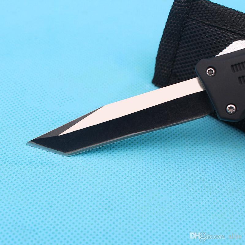 Custom Knives - 7 Inch Small 616 Auto Tactical Knife 440C Single Tanto Fine Edge Blade With Nylon Bag