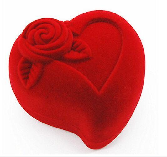 Promosyon 10 adet / grup Boyutu 64 * 60 * 44mm Butik Kalp şeklinde Kazık Kaplama Takı / Kuyumcu Yüzükler Düğün Hediyeleri Şeker Sundries Paketi Kutusu vaka