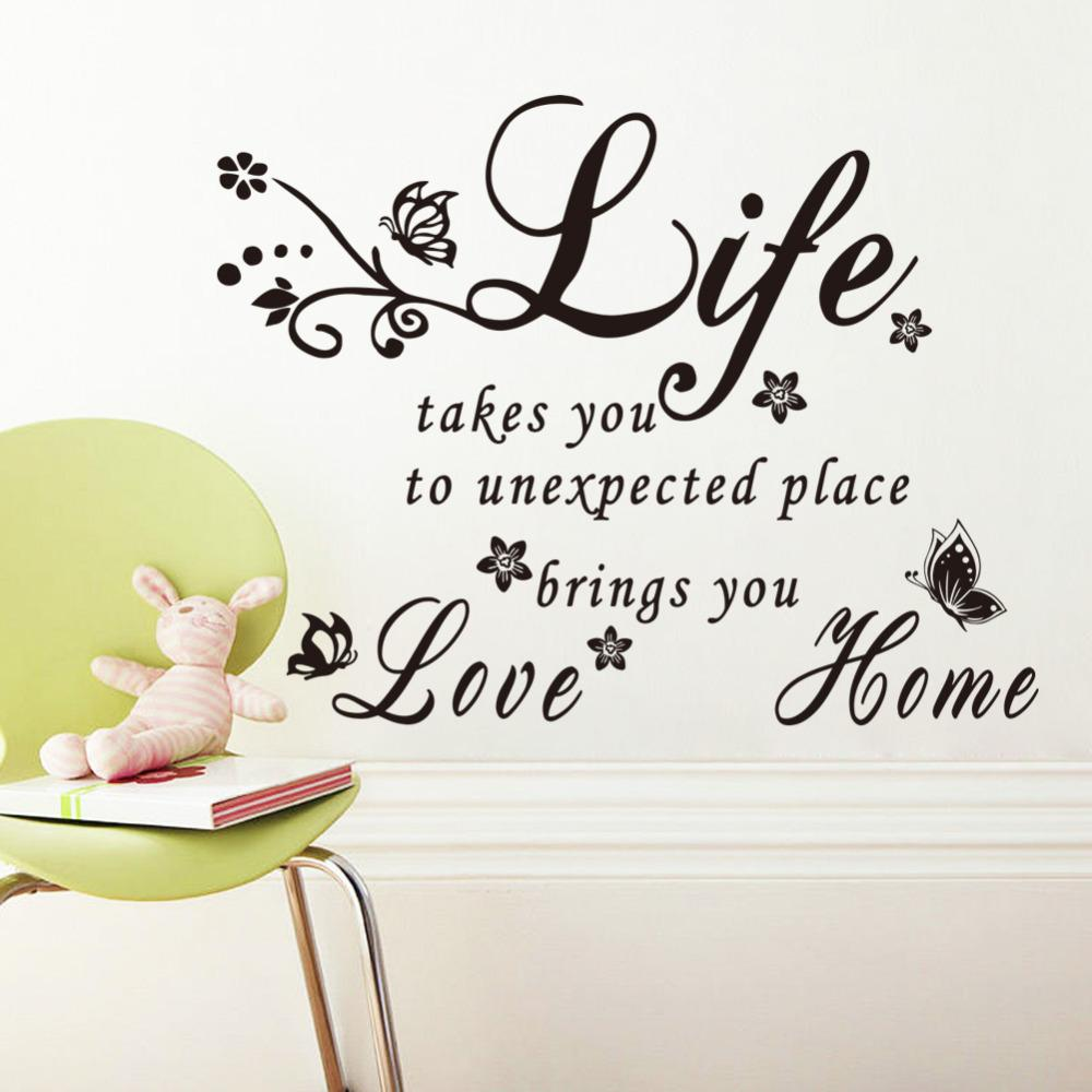 Life Takes You To Love Home Vinyl Quotes Butterfly Flower Wall
