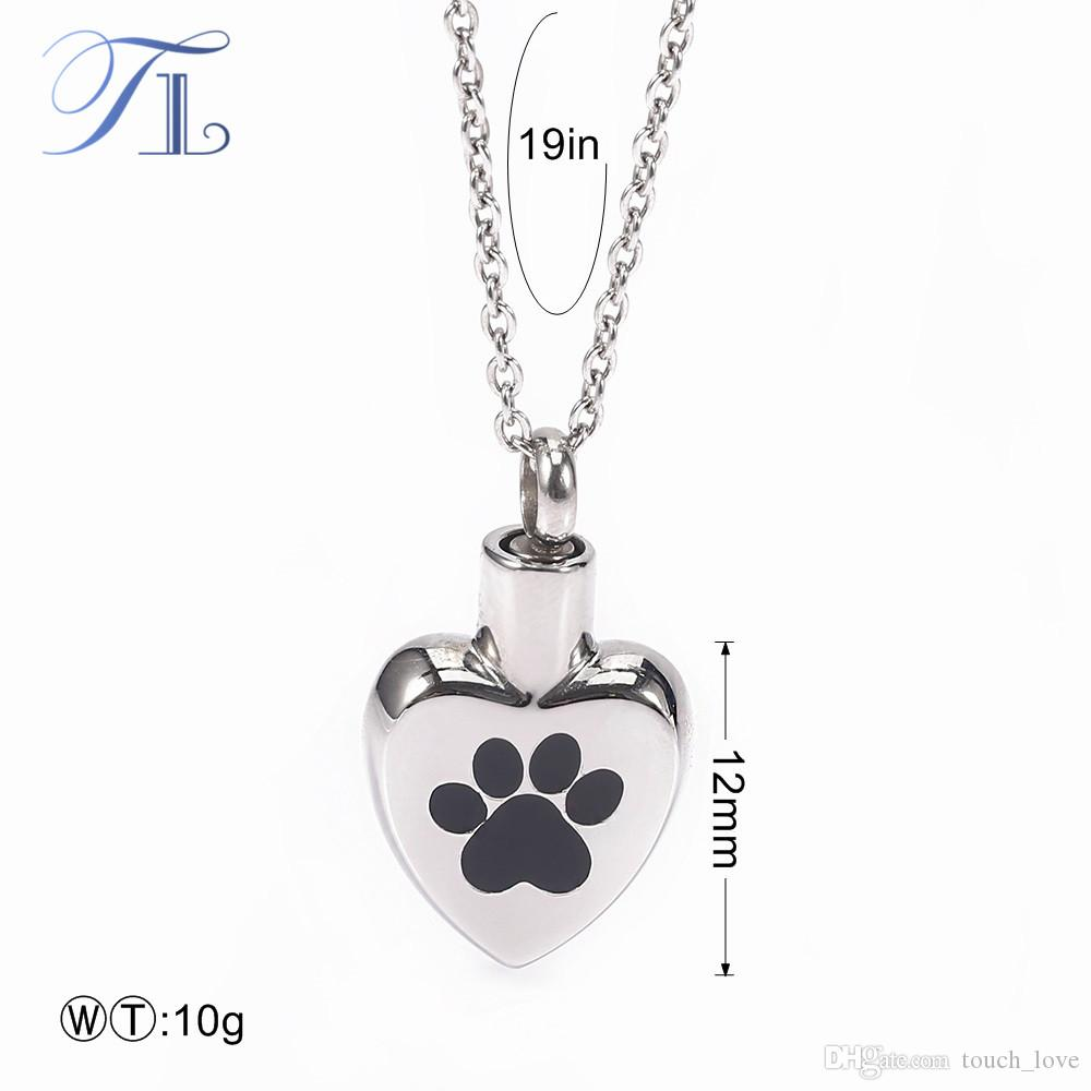 TL Stainless Steel Big Paw Prints Heart Pendants Choker Necklaces Cute Heart Necklace Silver Plated Pendant Necklaces For Women
