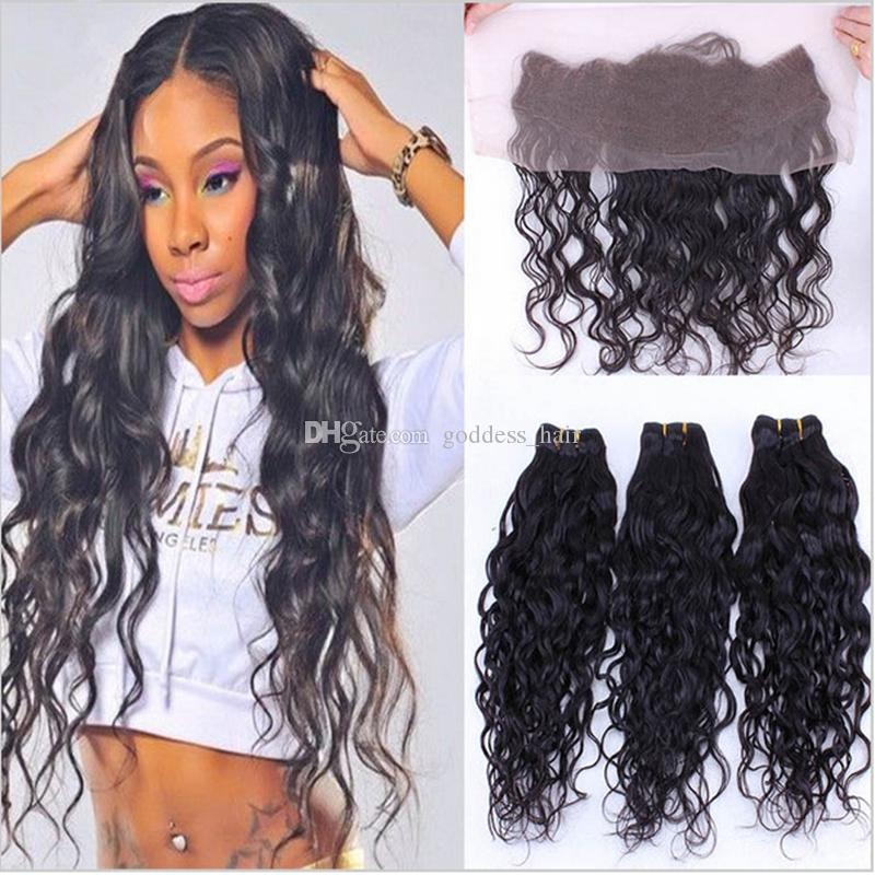 9A Water Wave Bundles With Lace Frontal Closure Free Middle Three Part Wet  Wavy Ear To Ear Lace Frontal With Bundles Double Wefted Hair Extensions  Quad Weft ... 5c7426f18e