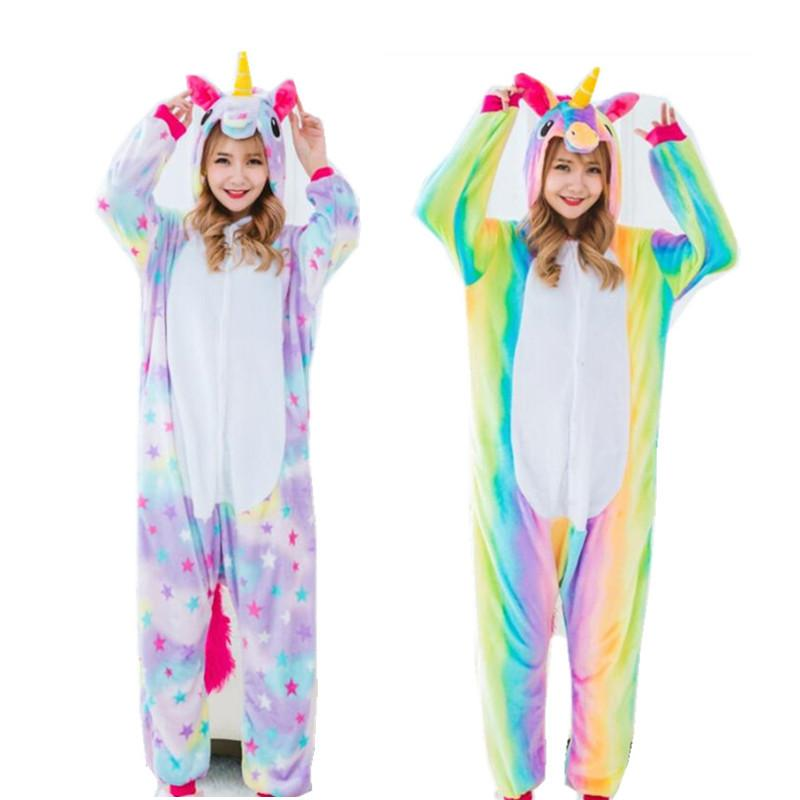 Women S Cosplay Costumes And Winter Flano Pajamas Star Or Rainbow Unicorn  Onesies Kigurumi Jumpsuit Hoodies Adults Halloween Party Clothes Office  Themes For ... 3442e0c7b