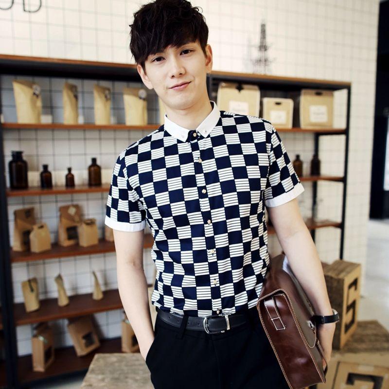 37f01f3b0b6 2019 Wholesale 2016 New Arrival Men S Summer Shirts White And Black Plaid  Pattern Casual Fashion Men S Shirt Sleeve Shirt Urban Stylish From Karel