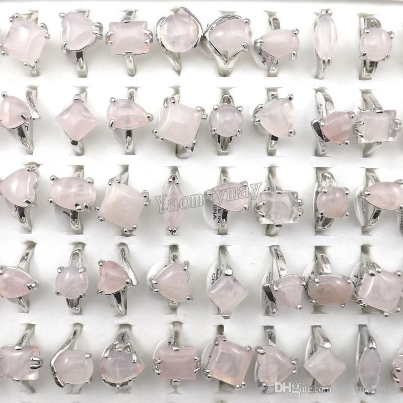 Anillos de cristal rosa de la manera joyería de las mujeres Rose Quartz Rings al por mayor