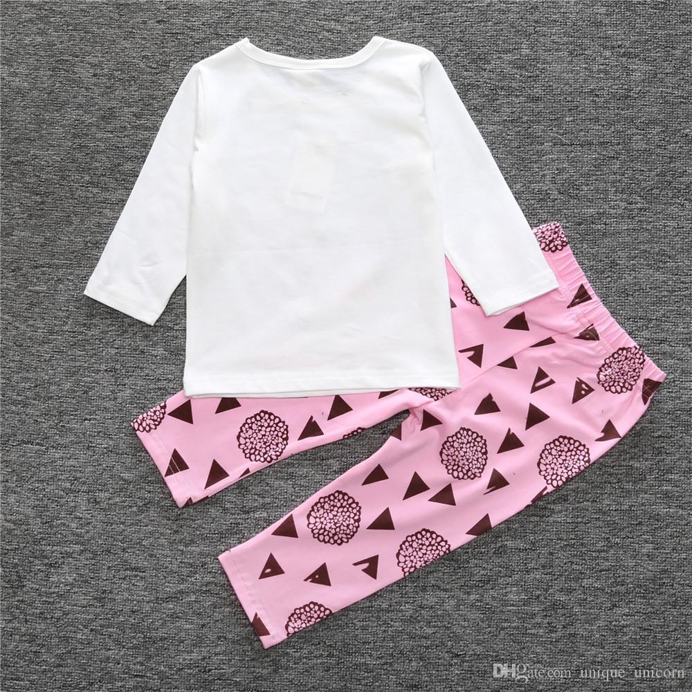 Recém-nascido Infantil Do Bebê Meninos Crianças Conjuntos de Roupas de moda bebê Carta Longo T-shirt + Calças Compridas Outfits Conjuntos de alta qualidade frete grátis