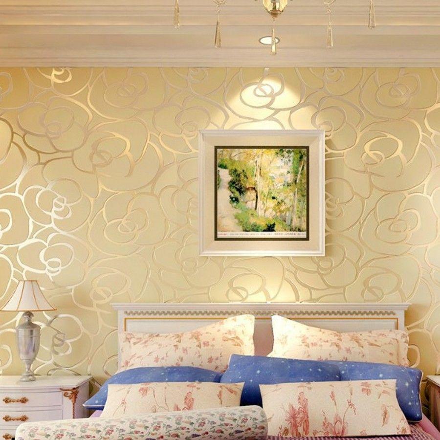 Home Decor Background Wall Modern Velvet Wallpaper Gold Roses For